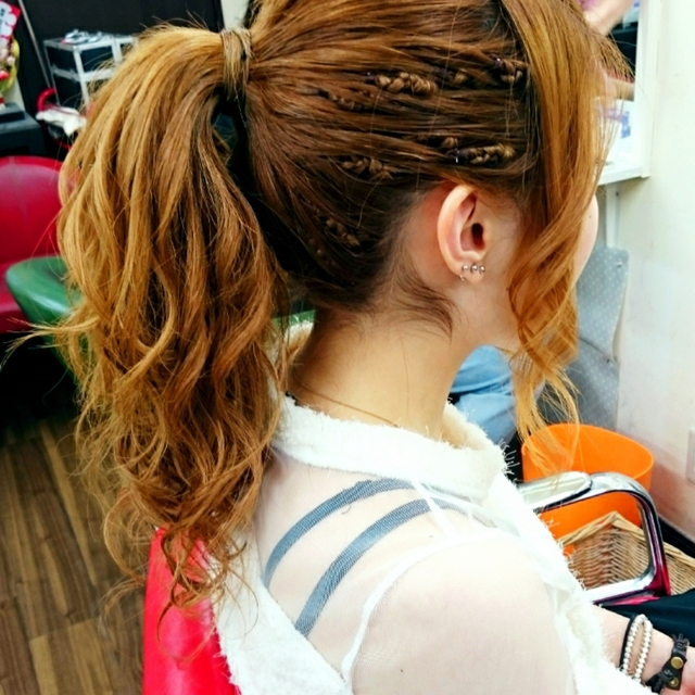 "☆ ""Ponytail + Cord Roll ♪"" ☆ Simple and cute all around ♪ 