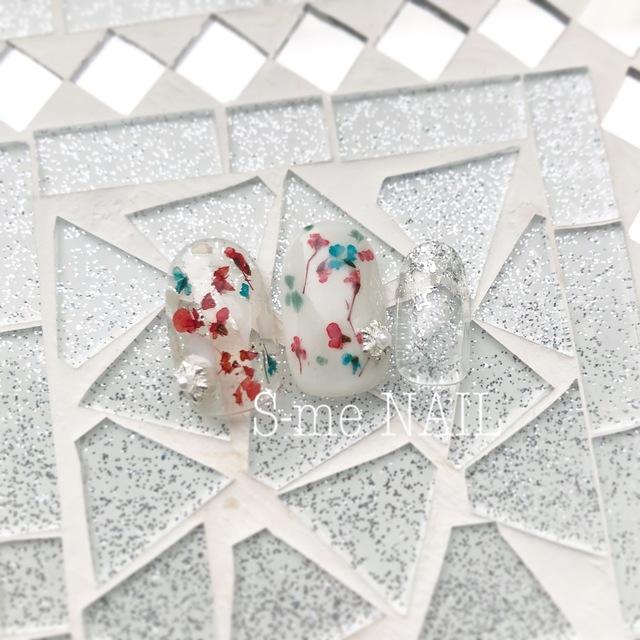 爪に優しい♡!カルジェル【クリスマスカラーボタニカル nail】 | S-me NAIL (エスミーネイル)恵比寿駅1分 | 当日予約・直前予約 ポップコーン