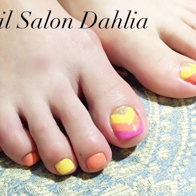 None Off foot straight-line design is ¥ 6980! | Nail Salon Dahlia (Dahlia) | Last-minute booking service Popcorn