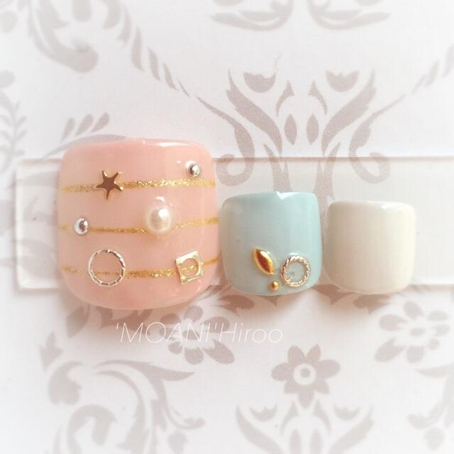 Smoky pastel Foot | Nail salon 'MOANI' Hiroo Ebisu Shibuya store | Last-minute booking service Popcorn