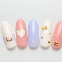 [Initial / off Keakomi] flat-rate premium course ☆ color change ◎ Stone and Art Lots ♪ | Bande (Bande) - Nail - | Last-minute booking service Popcorn