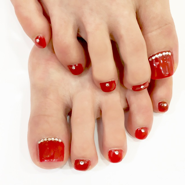 [Off & foot bath included] foot straight-line design nail ♡ 5800 yen | 6 selected from the class Allowed | TK nail palette Tiken nail palette | Open until 22 o'clock | Last-minute booking service Popcorn