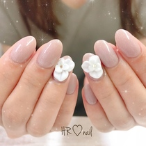 Initial only / hand ☆ one color + 3D rose / off included | HR nail | Last-minute booking service Popcorn