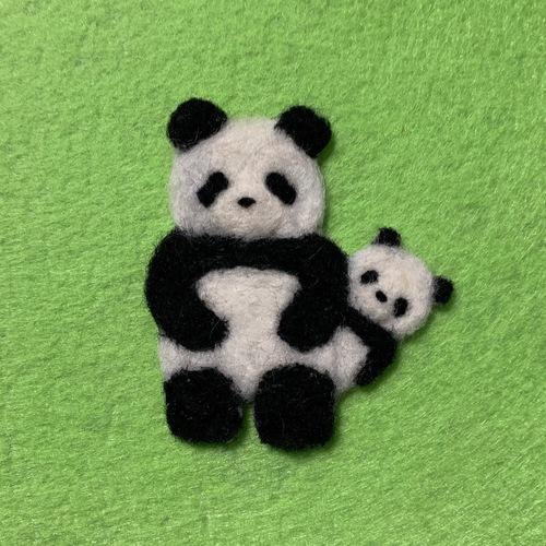 親子パンダのブローチ(またはバッグチャーム)