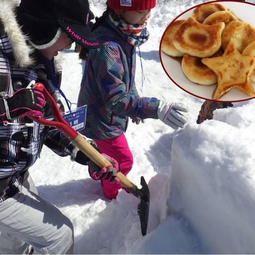 雪中じゃがいもを掘り出していももちを作ろう
