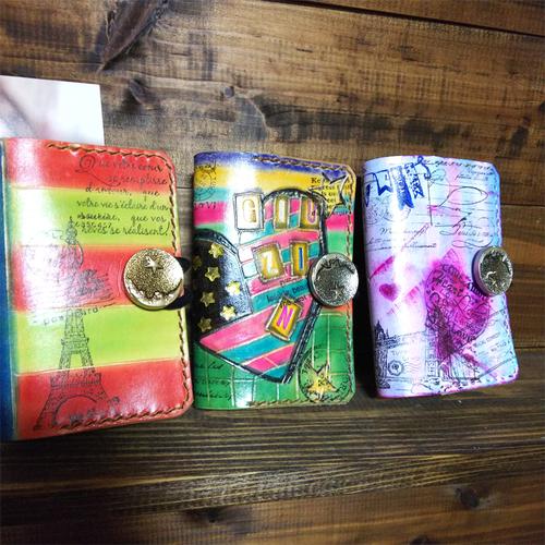 9月14日 女性向けレザークラフト 可愛い染色でポイントカードケース作り 大阪市東成区 緑橋駅