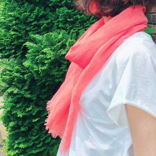 【草木染】美しい天然の茜色・草木染めのストール