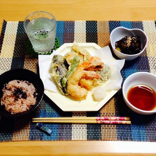 天ぷら・炊飯器で作る赤飯・なすの甘辛煮