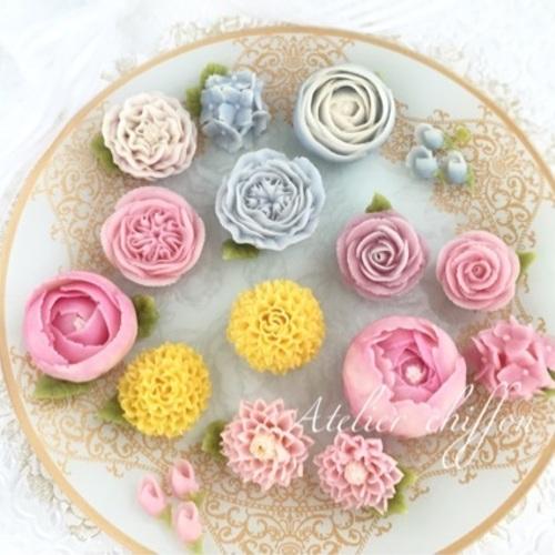 あんフラワー 菊とイングリッシュローズのお花絞り