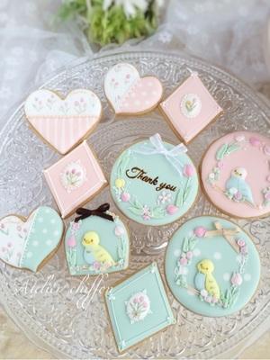 5月 インコちゃんとチューリップ柄アイシングクッキー
