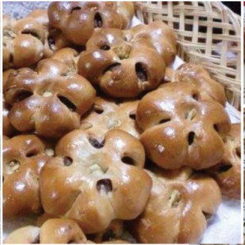 木のキッチンでパン教室 パン2種「チーズトレコンロール」「くるみアンパン」+お菓子「ピーカンサブレ」とミニサラダ