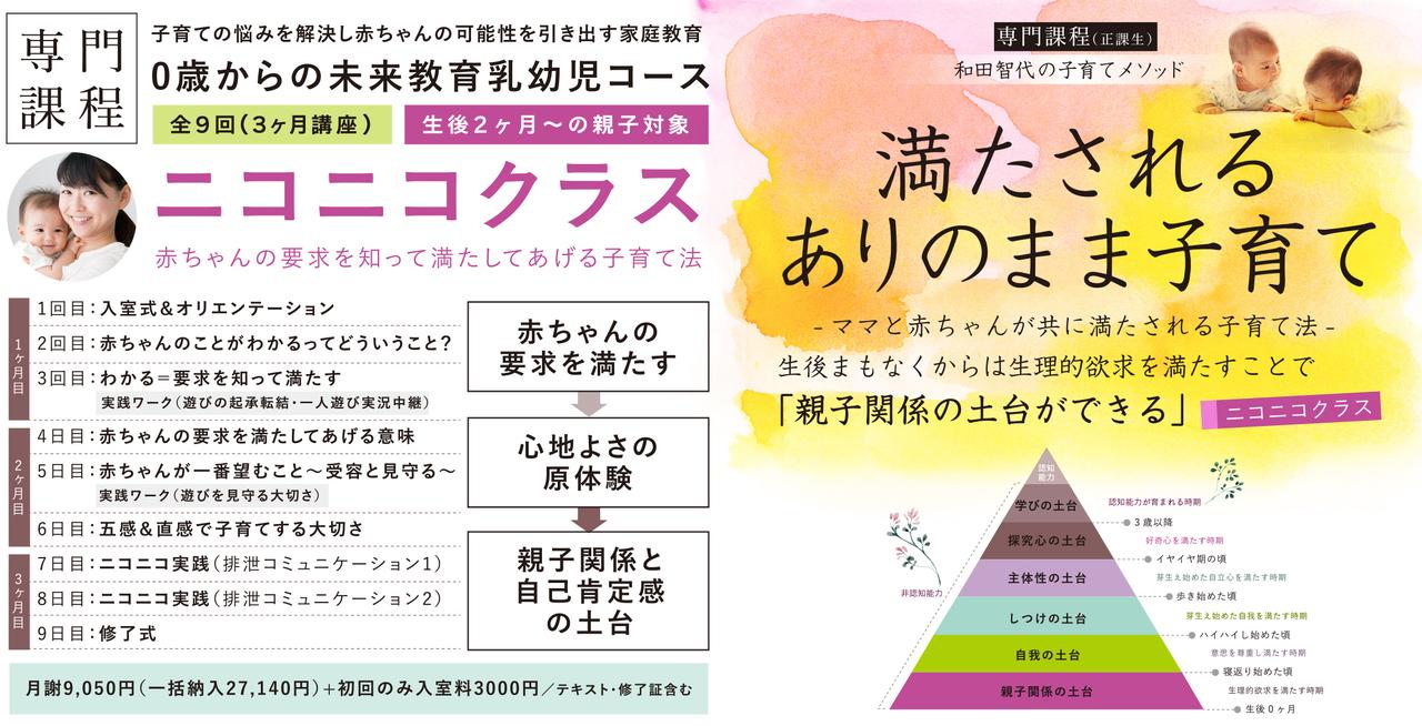 【ニコニコクラス】2019年1月開講:赤ちゃんのことが要求がわかる!(生後2ヶ月〜対象)