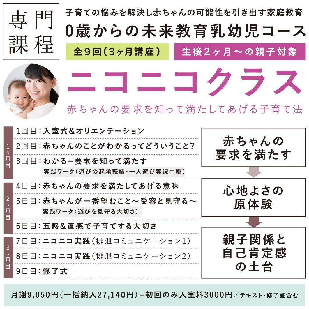 【ニコニコクラス】10月開講:赤ちゃんのことが要求がわかる!(生後2ヶ月〜対象)