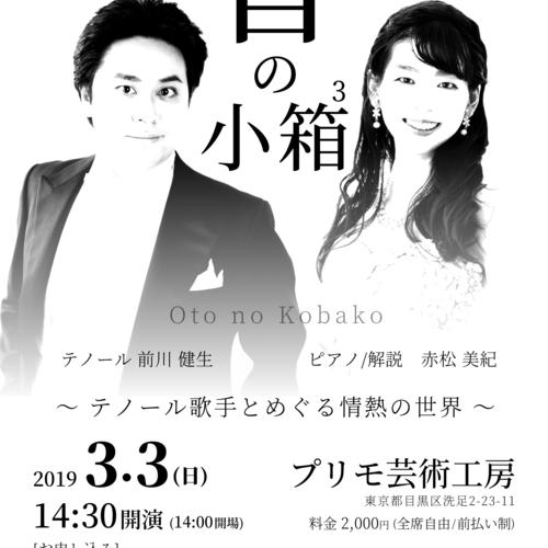 3月3日(日) 音の小箱3  〜 ピアノで贈る小さな音楽会 〜 [テノール歌手とめぐる情熱の世界]