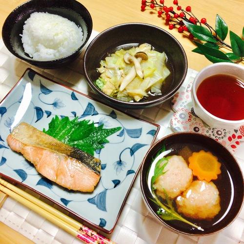 【基本の魚コース1回目】鮭の幽庵焼き・白菜と揚げの煮びたし・えびのしんじょ椀