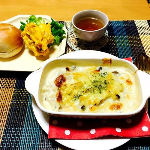 チキンのグラタン・カボチャとクリームチーズのサラダ・ベーグル