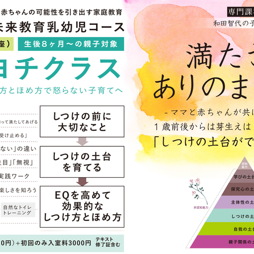 【ヨチヨチクラス】2019年4月開講:しつけ方とほめ方のヒントとコツ(8ヶ月前後から1歳半)