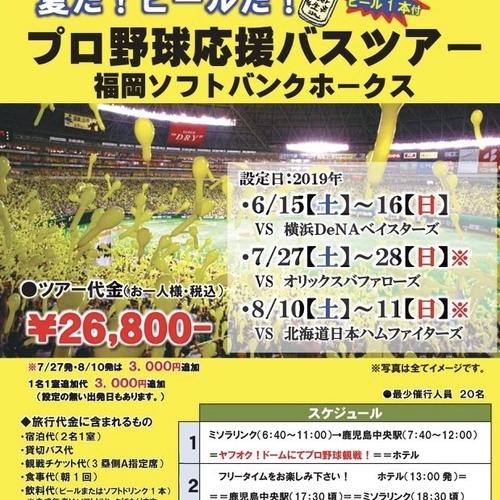 夏だ!ビールだ!プロ野球応援バスツアー(ヤフオク!ドーム・福岡の旅2日間)