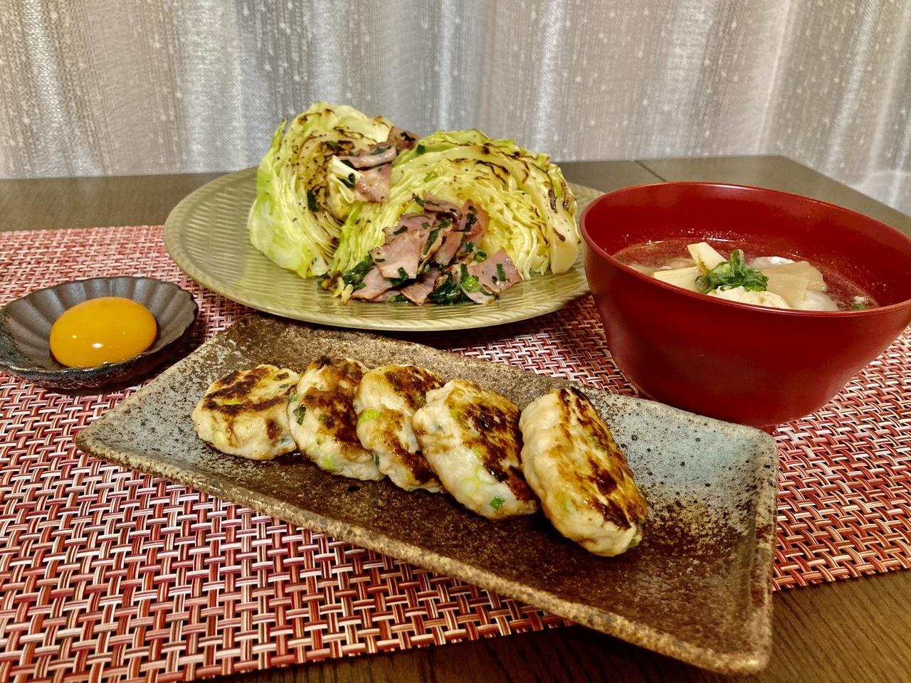 4/24 お気楽うっちーごはん❤️「キャベツのステーキ」「鶏つくね」「鶏団子スープ」内山先生