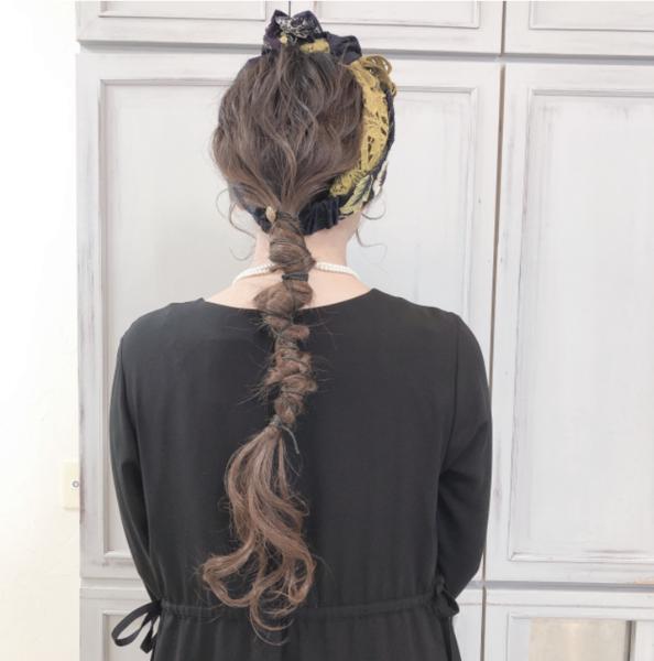 紐を使ったヘアアレンジ