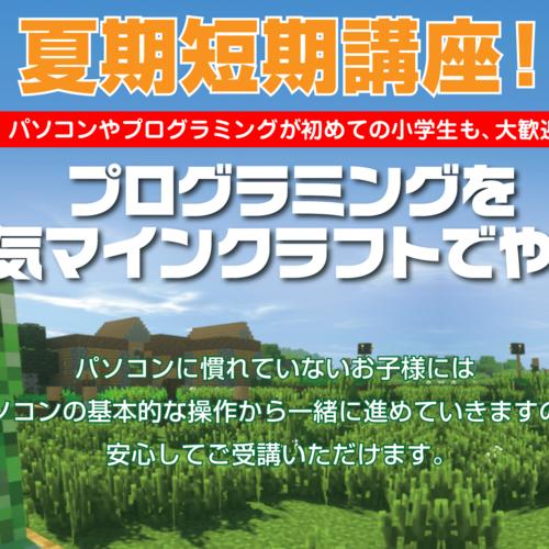 【武蔵藤沢校】プロスタキッズ夏期短期講座★大人気!プログラミングをマイクラで!