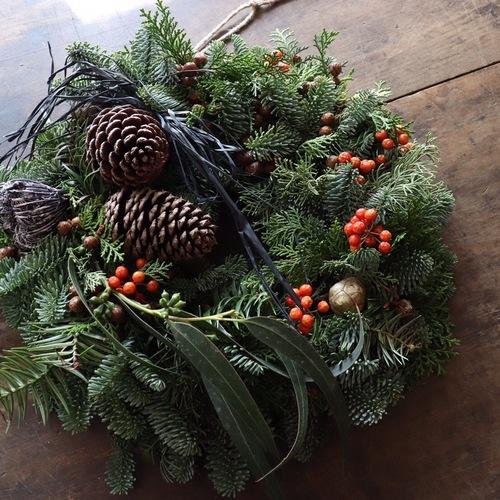 『flowerobje greenspot 針葉樹のクリスマスリース作り 』at 菜花