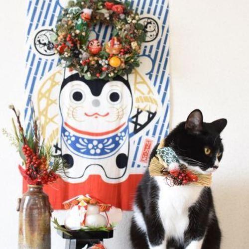 お正月を迎える花たち♪『なんとも可愛い♪目出度いリース』