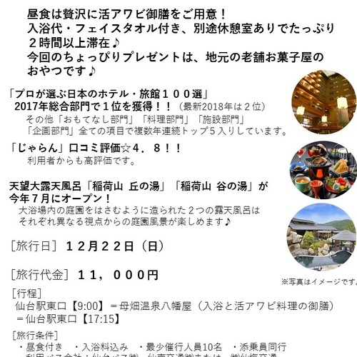 1年頑張ったご褒美に♪プロが選ぶ日本のホテル旅館2017年総合1位「母畑温泉 八幡屋」日帰り 12月22日(日)出発決定