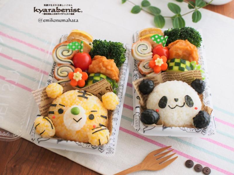 子どものためのお弁当教室ラ*シード3月トラとパンダのそぼろおにぎり弁当