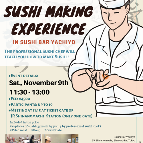 Sushi Making Experience in Sushi Bar Yachiyo on November 9th