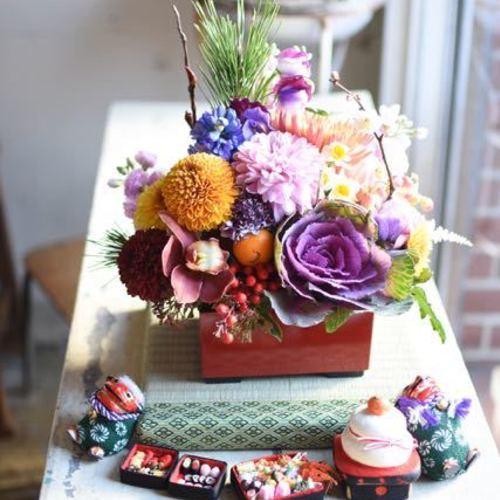 お正月を迎える花たち♪『エレガントな菊のお重&ちいさなお飾り』