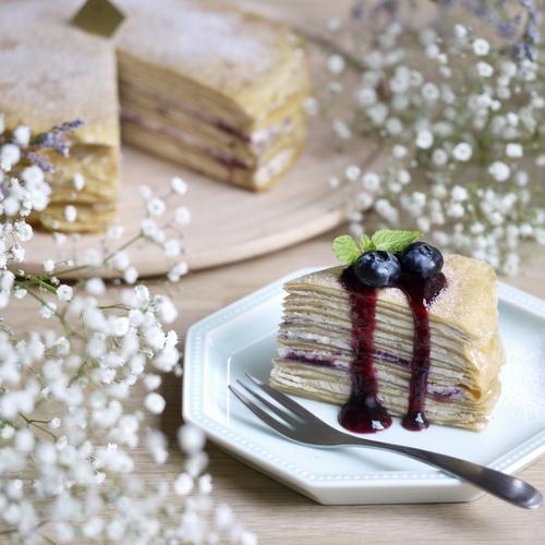 【 紅茶とブルーベリーの米粉ミルクレープ 】